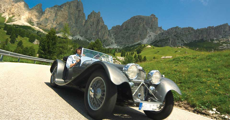 Vintage cars in the Dolomites